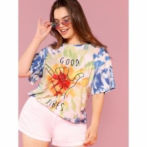 Tie Dye Relaxed Good Vibes T-shirt.